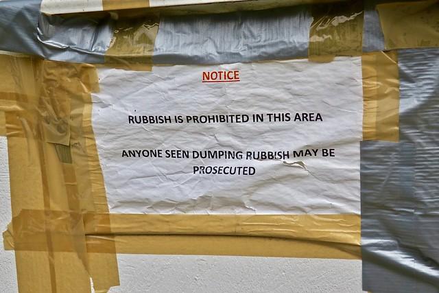 Rubbish Notice, London, UK