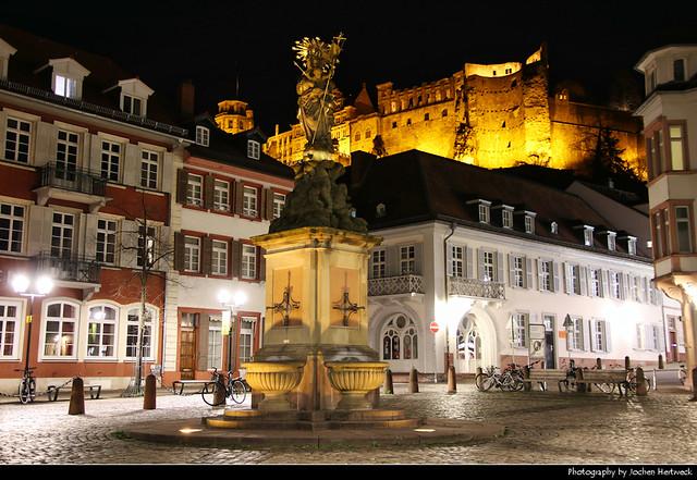 Kornmarkt at Night, Heidelberg, Germany