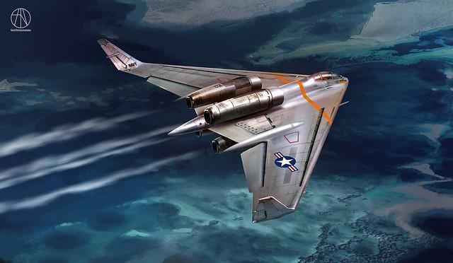 PLANE MJF NORTHROP N-31 FLYING WING - POSSIBLE US NAVY VARIATION - JET VERSION - ART BY RASMUS POULSEN