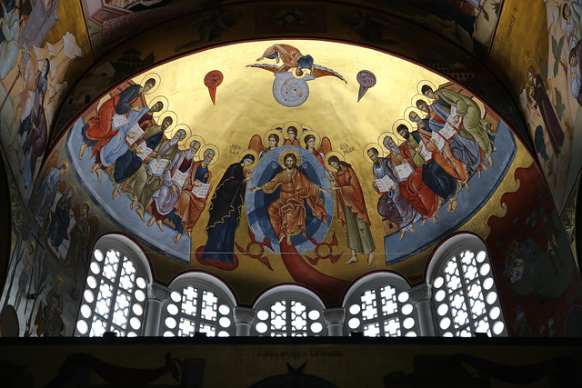 Jesus with his twelve apostles on the side dome of Podgorica Cathedral
