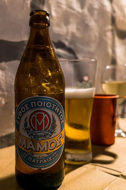 Bottle of Mamos Beer (Taverna Gramaphone) (Myrina Town - Lemnos) (Ricoh GR3 28mm APS-C Compact)