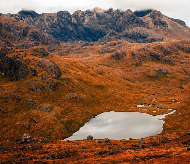 Loch a' Choire Riabhaich in the Cuillin mountains of Skye.