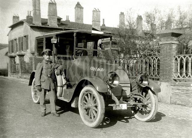 Kraftfahrer Gustav Ottmann of the 1. Bayerische Landwehr-Division and his Fiat sedan