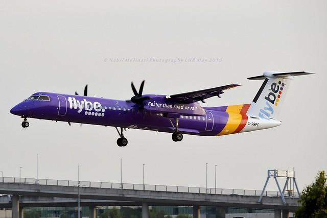 Flybe G-PRPC Bombardier DHC-8-402Q Dash 8 cn/4338 wfu & std at SOU 4 Mar 2020 std at SCN 25 Jun 2020 @ EGLL / LHR 15-05-2019