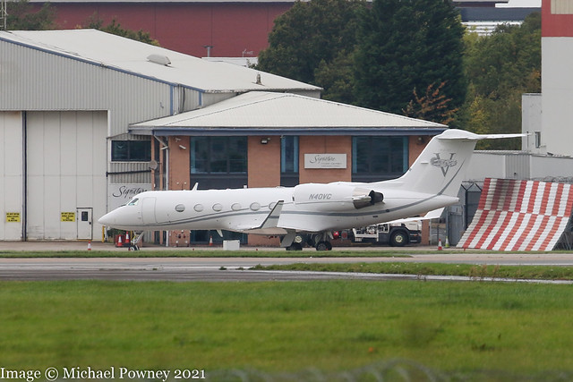 N40VC - 1997 build Gulfstream GIV-SP, parked with Signature at Manchester