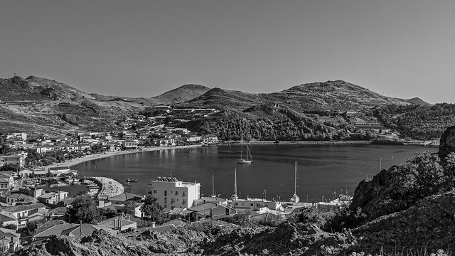 Myrina Harbour From Above (Film Effect) Lemnos - Greece (Monochrome)  (Ricoh GR3 28mm Compact)