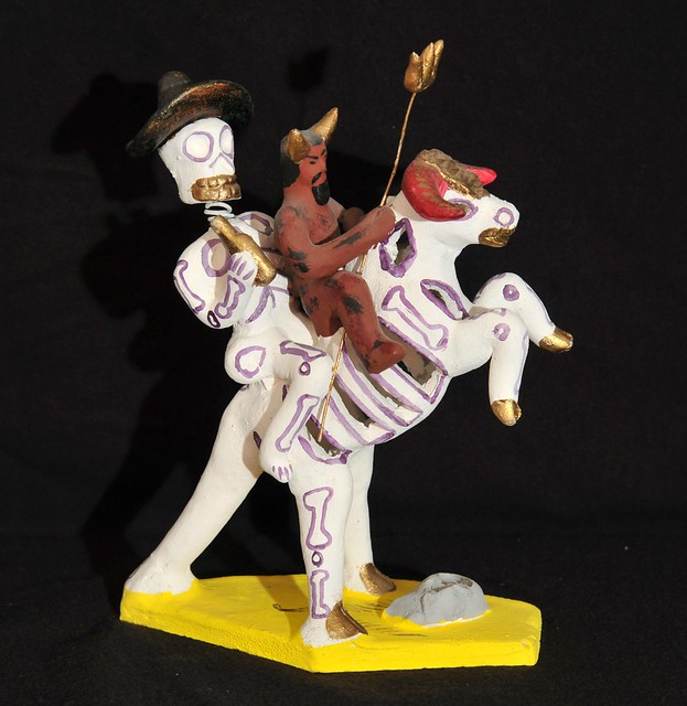 Skeleton and Devil Pottery Mexico Metepec