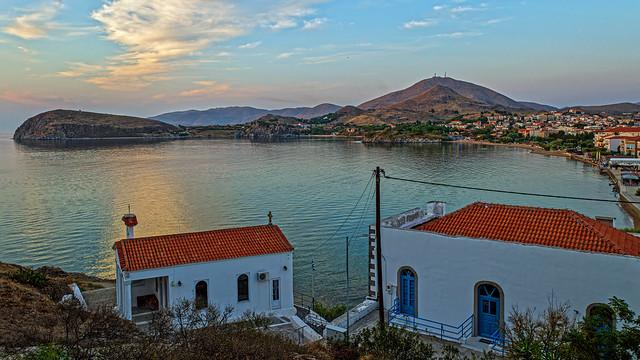 Evening Approaches (Church of Agia Parashevi) Myrina Town ( Romeikos Gialos Seafront Area) Greece  (Ricoh GR3 28mm Compact)