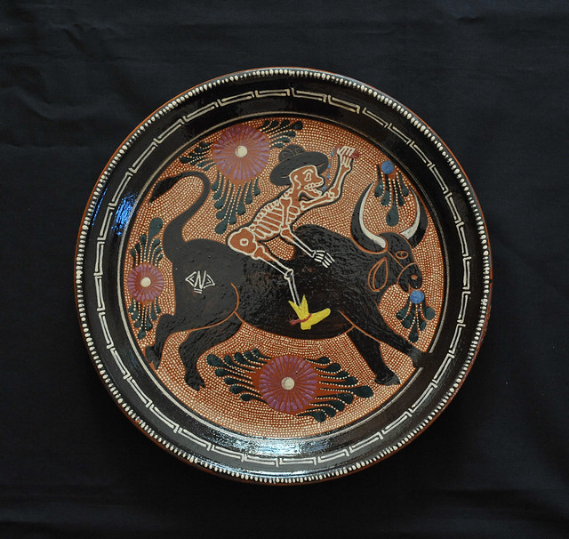 Pottery Michoacan Capula Day of the Dead Bull Skeleton