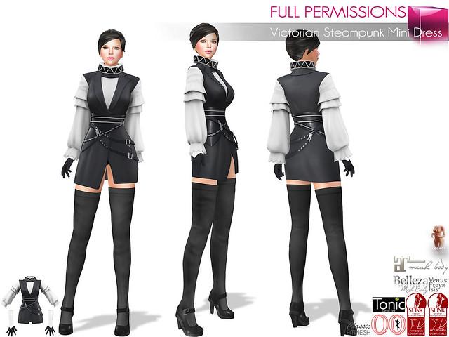 Full Perm Victorian Steampunk Mini Dress