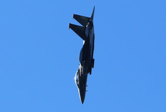 Backyard Shot, F-15E in the Pattern for Runway 36