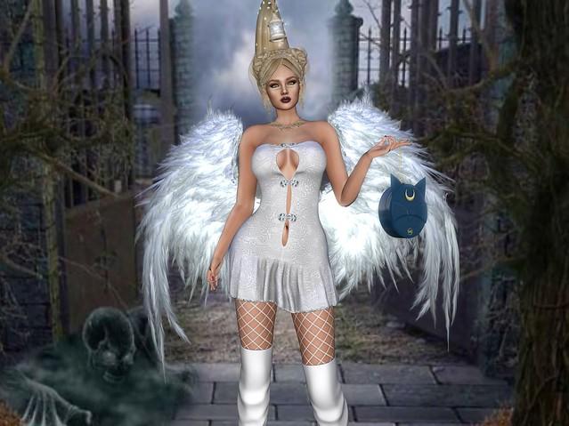 SL:: TIFFANY DESIGNS ::  ANGEL DRESS HALLOWEEN - WHITE