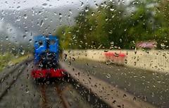 Blue steam locomotive