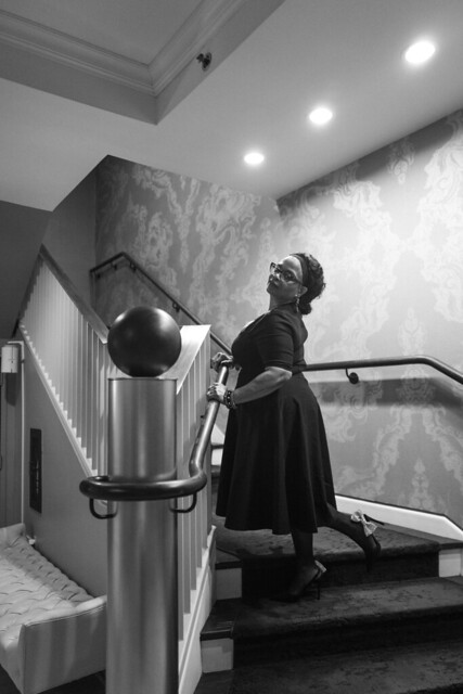 Del on the staircase.