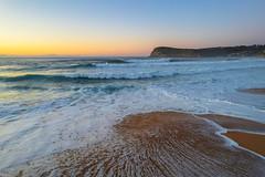 Surfs up aerial sunrise seascape