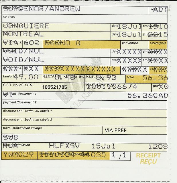 Via Rail Canada - Ticket for the Saguenay