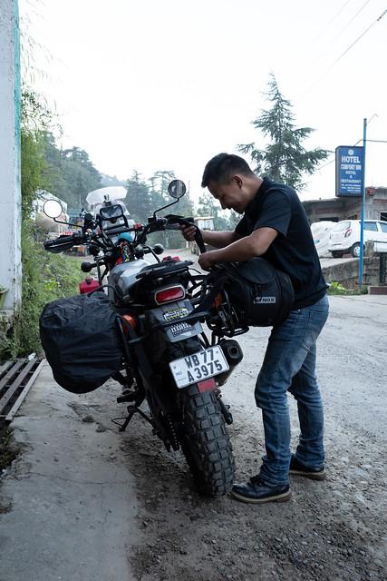The morning bike loading/rigging ritual.