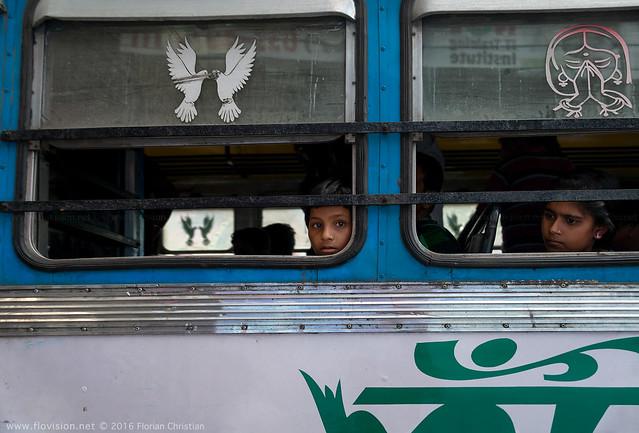 Girls on the bus, Kolkata, India