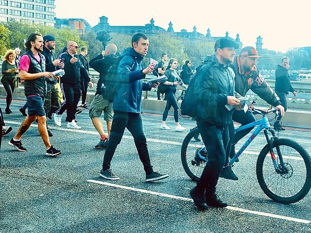 Marchers crossing the bridge