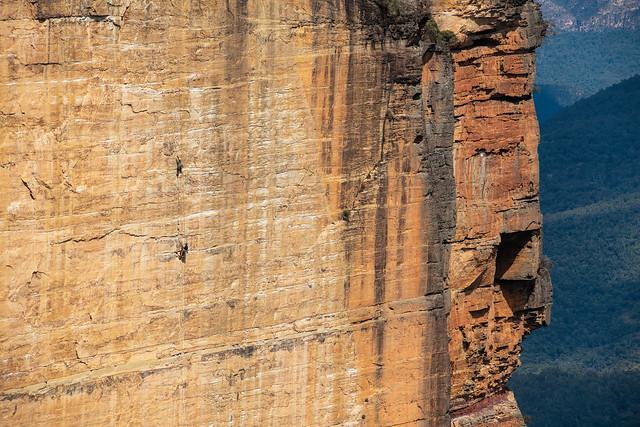 Aid climbers on Dogface
