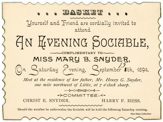 Evening Basket Sociable Invitation, Lititz, Pa., September 15, 1894
