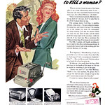 Wed, 2021-10-20 15:00 - Is it always illegal to kill a woman? 1953 Pitney-Bowes Postage Meter ad, illustration by Anthony Ravielli