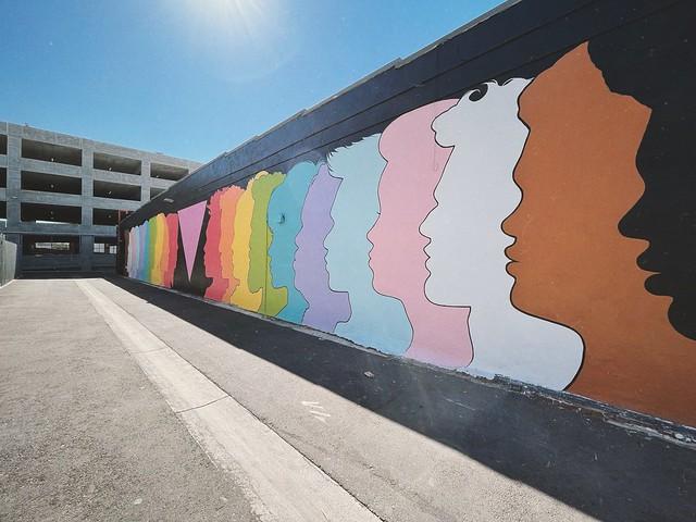 rainbow faces mural.