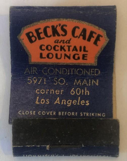 BECK'S CAFE LOS ANGELES CALIF (MIDGET)