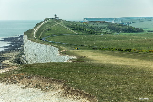 Belle Tout Lighthouse and Seaford Head from just west of Beachy Head, East Sussex, England.