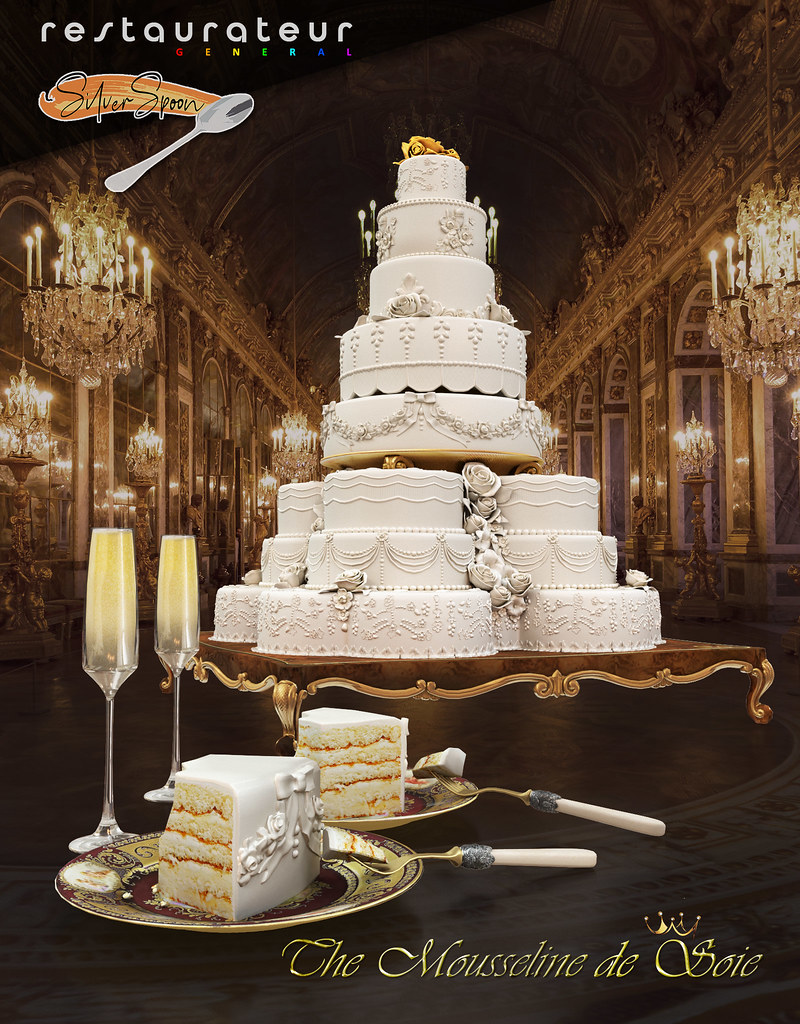 """Don't forget today at Shiny Shabby Event """"The Mousseline de Soie"""" is released. It has decor versions of the royal plates in both versions. The cake is fit for a royal wedding or even a grand renewal! See you at the reception!"""