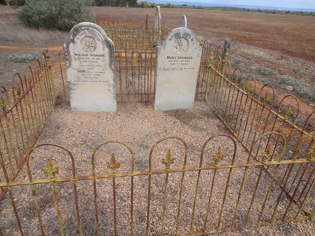 Baroota. Baroota sheep station cemetery on Mambray Creek.  Spencer graves and headstones.