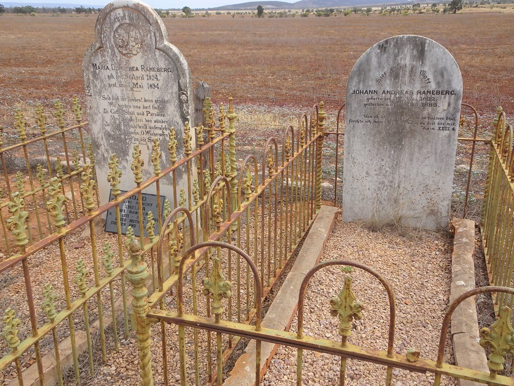 Baroota. Baroota sheep station cemetery on Mambray Creek.  Raneberg graves and headstones.