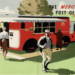 Wed, 2021-10-20 19:26 - During the 1930s the GPO - the General Post Office - the organisation that had responsibility for the UK's postal and telecommunications services, grew increasingly confident in its use of more contemporary styles of advertising and publicity. It was seen as a .modernising' force and this 1937 booklet cover is in a period 'poster' style. It is a great shame it is uncredited but it shows the latest innovation - the specially constructed Mobile Post Office, registered GPO 1.  The Mobile Post Office was just that - it was able to move around and attend public events such as agricultural shows and fairs and other such events. It allowed the provision of postal servcies (with a special hand frank) as well as allowing for the sale of stamps through the machine seen in the illustration and also for making telephone calls. It can be seen here at such a country event - local cheerful farmer, pipe in mouth, having just successfully completed a Post Office transaction! The text notes that many companies assisted int he design and construction of this vehicle - with its 3-ton tractor unit and trailer and that the MOT having allocated the registration index marks 'GPO' for the exclusive use of Postal vehicles allowed the allocation of GPO 1 to the ensemble.