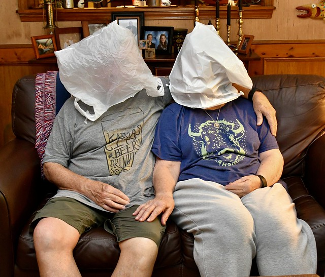Quite Often My Wife and I Like to Relax on the Sofa With Plastic Bags on Our Head
