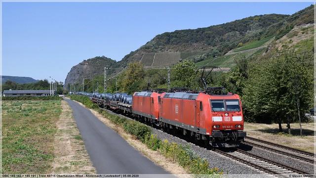 DBC 185 143 + 185 191   Leutesdorf   05-08-2020
