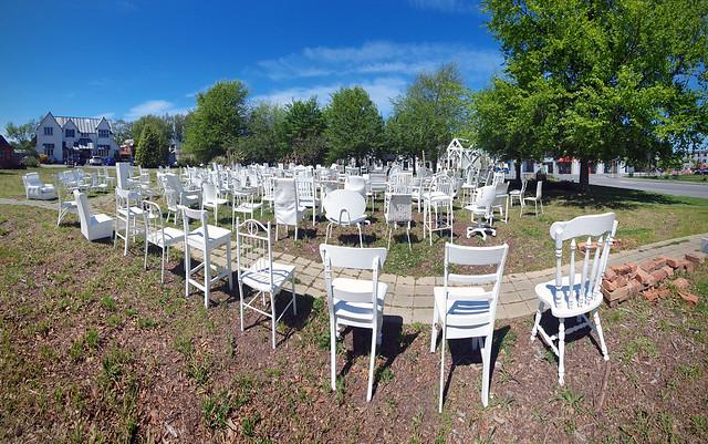 White chairs. Memorial