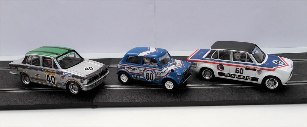 Scalextric Mini 1275GT and Resin Triumph Dolomite Sprints