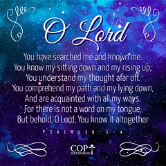 O Lord, You have searched me and known me. You know my sitting down and my rising up; You understand my thought afar off. You comprehend my path and my lying down, And are acquainted with all my ways. For there is not a word on my tongue, But behold, O Lo