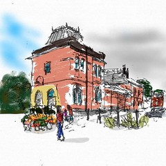Crystal Palace Railway Station. Fountain pen sketch coloured digitally.