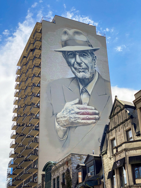 The mural of pop icon and Montrealer Leonard Cohen