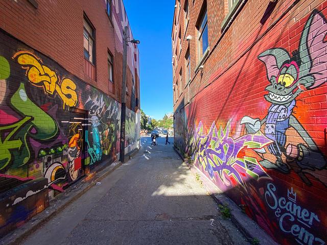 Alleyway mural by Scaner & Cemz (2017)