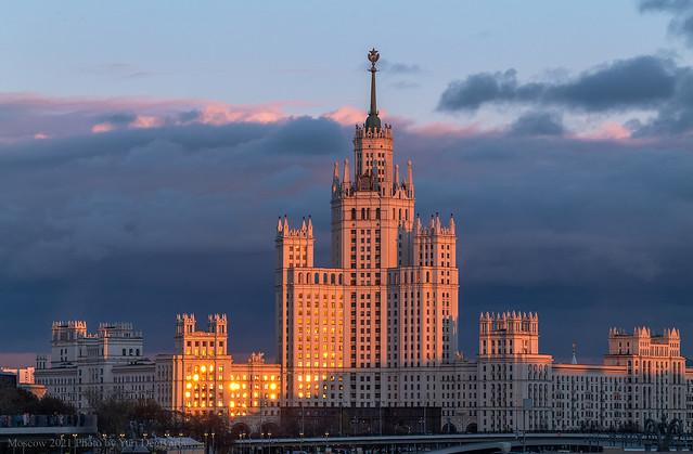 Russia. Moscow. The Stalinist skyscraper at Kotelnicheskaya embankment.