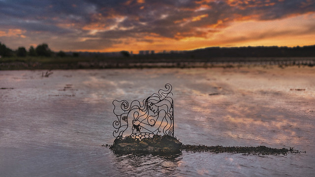Mermaid at Dawn, Confluence of Gruggies Burn and the River Clyde