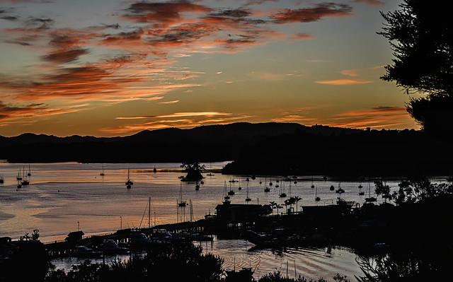 Opua wharf orangey dawn ferry ripples