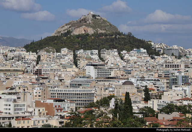 Mount Lycabettus seen from Areopagus Hill, Athens, Greece