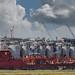 Le super tanker John August essberger dans le port de Hambourg