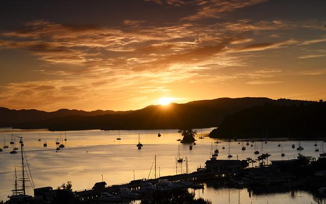 Opua wharf Pine island sunrise peep orangy