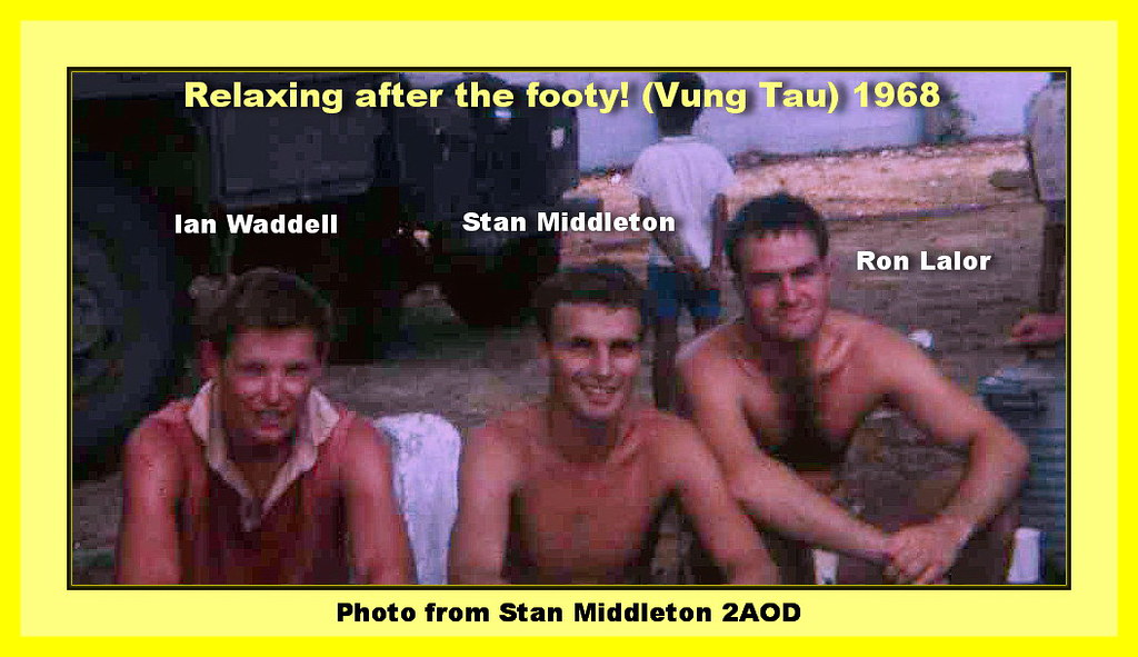 0361-Ian Waddell Stan Middleton Ron Lalor after footy at Vung Tau May 1968