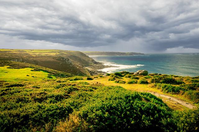 Walk along Coastal Path to Sennen Cove, Cornwall Uk
