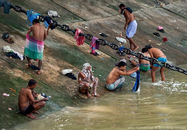 Morning wash, Kolkata, India